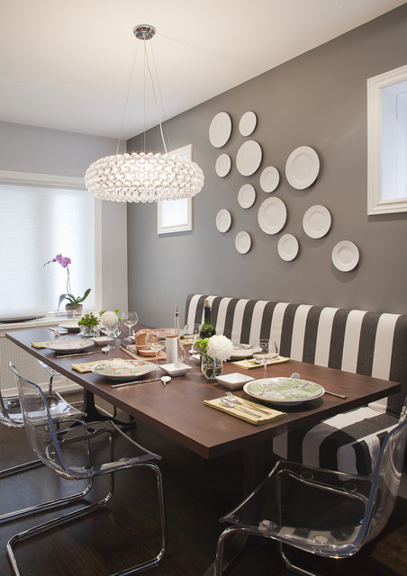 Lucite Chairs Dining Room Transitional with Accent Wall Banquette Bench