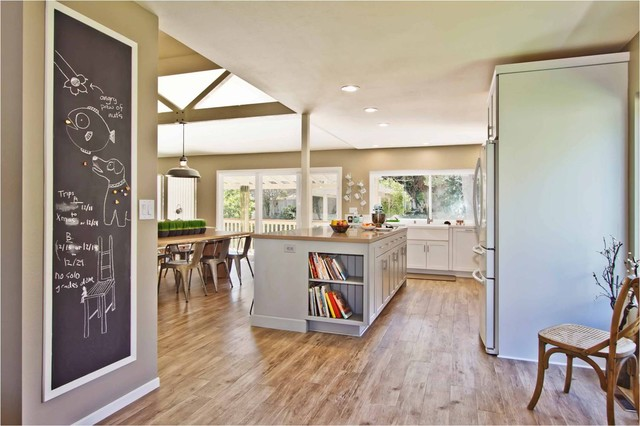 Luxury Vinyl Plank Kitchen Contemporary with Caesarstone Countertops Ceiling Lights
