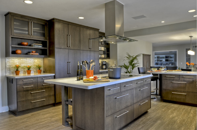 Luxury Vinyl Plank Kitchen Contemporary with Ceramic Cooktop Glass Tile