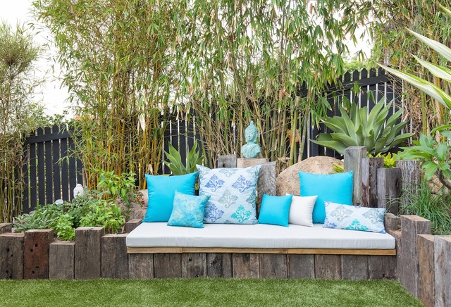 Machine Washable Rugs Patio Eclectic with Accent Pillows Built In