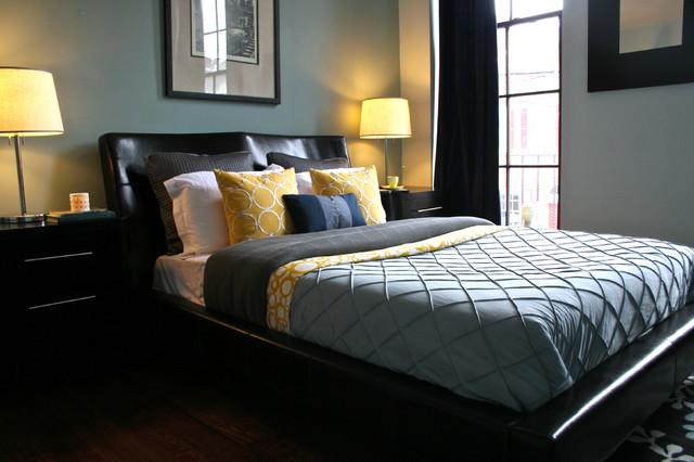 magical thinking bedding Bedroom Contemporary with antique bedside table black