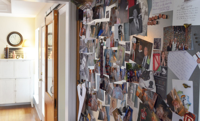 magnetic bulletin board Spaces Eclectic with family photos