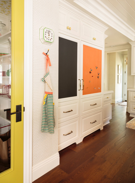 Magnetic Bulletin Board Spaces Traditional with Built in Banquette Dark Wood