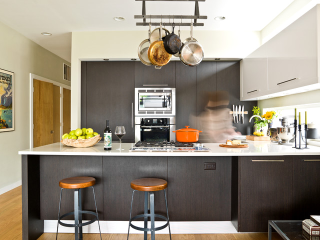 Magnetic Knife Rack Kitchen Contemporary with Beige Wall Cooktop Dark