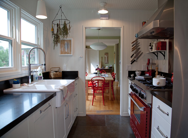 Magnetic Knife Rack Kitchen Farmhouse with Apron Sink Beadboard Ceiling