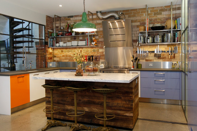 Magnetic Knife Rack Kitchen Industrial with Brick Wall Concrete Floor