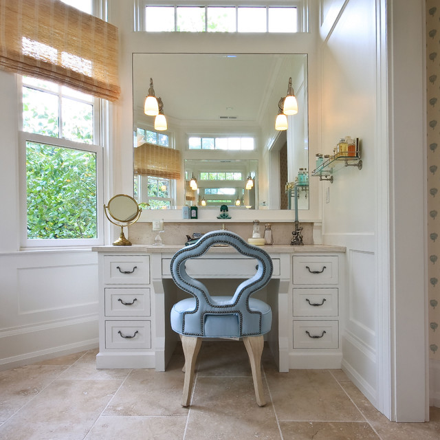 makeup vanities Bathroom Traditional with blue chair board and