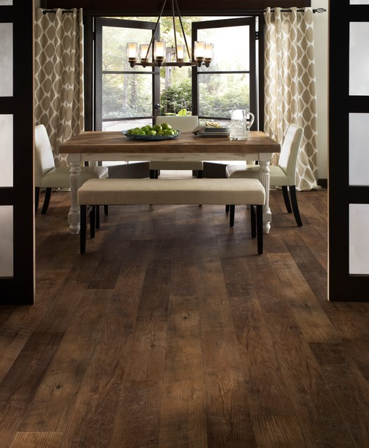 Mannington Adura Dining Room Traditional with Beige Pattern Curtains Brown