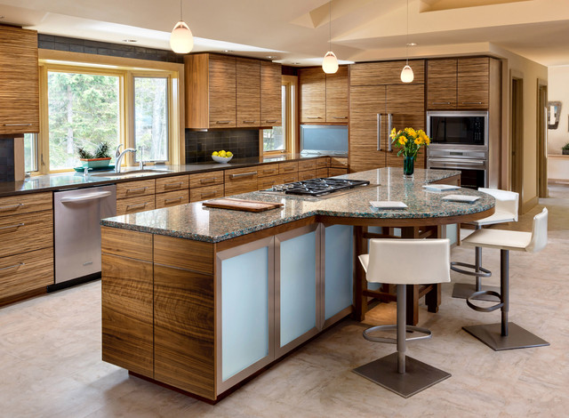 mannington adura Kitchen Contemporary with 3 glass pendant lights