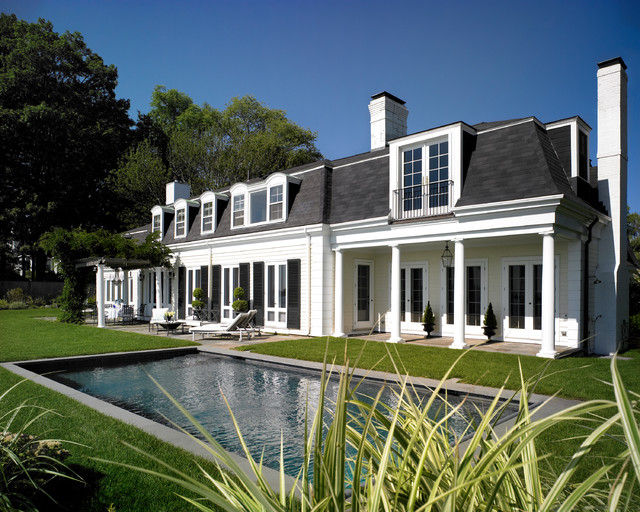 Mansard Roof Exterior Traditional with Black Shutters Classical House