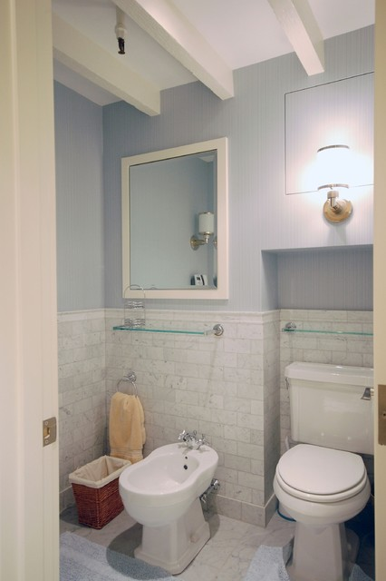 Marble Subway Tile Bathroom Contemporary with Bathroom Mirror Bidet Blue
