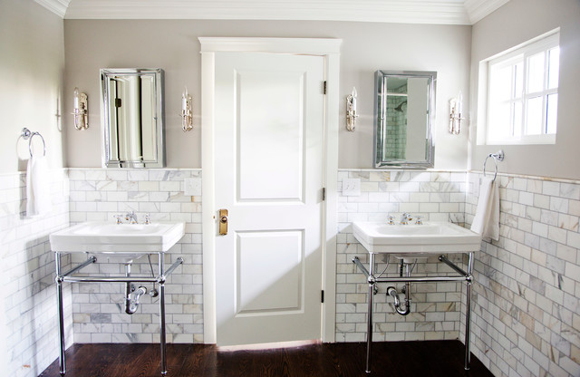 Marble Subway Tile Bathroom Traditional with Calacutta Gold Marble Console