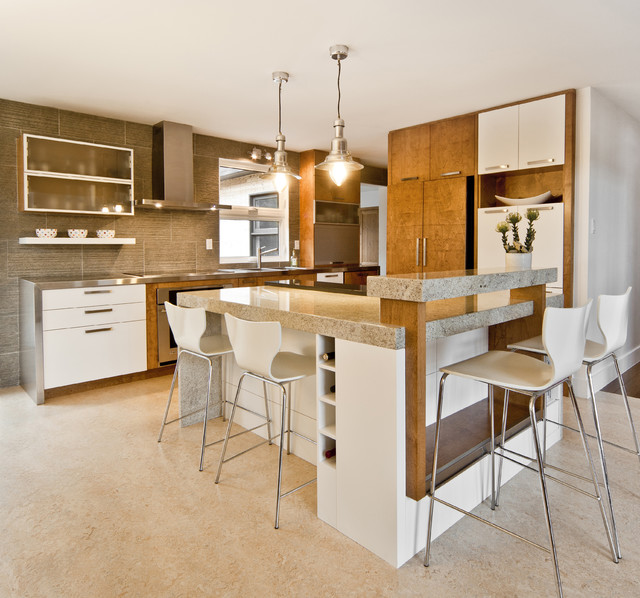 Marmoleum Kitchen Contemporary with Bar Stools Bent Plywood