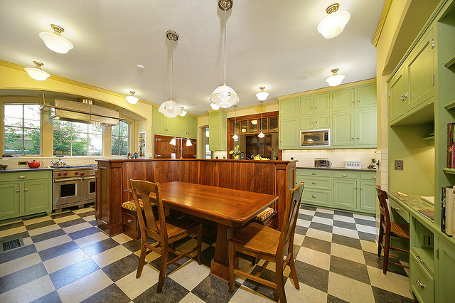 Marmoleum Kitchen Traditional with Banquette Built in Desk Built In