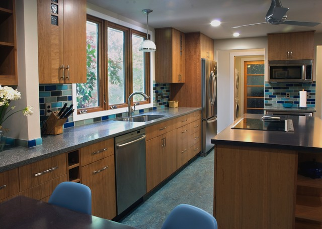 Marmoleum Flooring Kitchen Traditional with Alchemy Counters Ceiling Fan