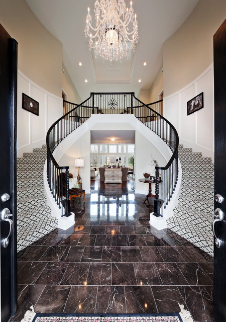 Masland Carpet Staircase Traditional with Black and White Black