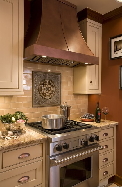 Medallion Cabinets Kitchen Traditional with Accent Tiles Beige Cabinets