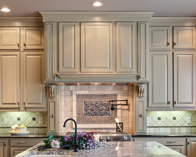 Medallion Cabinets Kitchen Traditional with Accent Tiles Ceiling Lighting