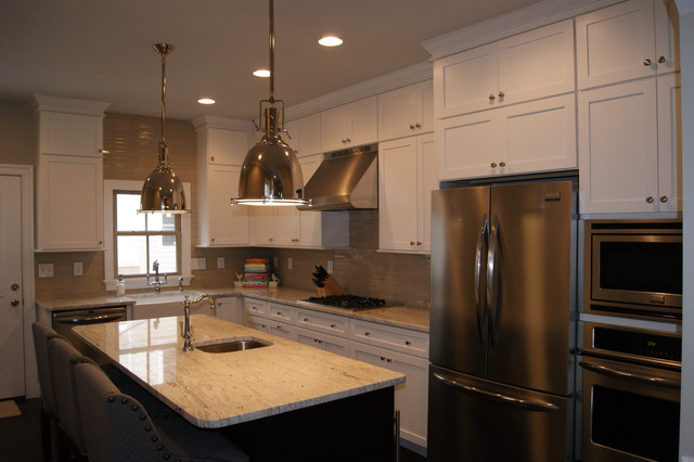 medallion cabinets Kitchen Traditional with granite medallion white shaker