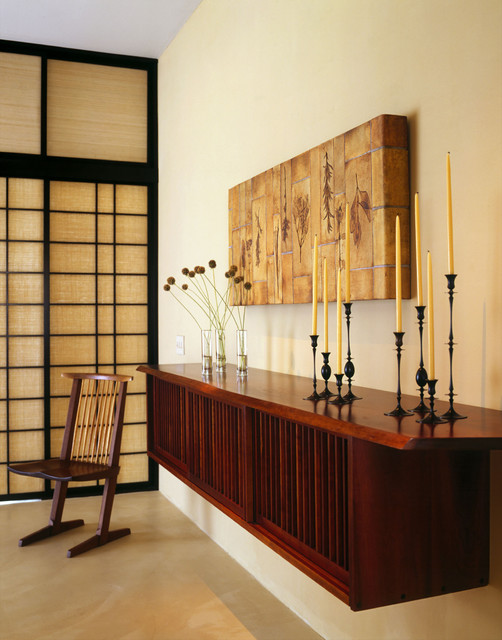 Mid Century Credenza Entry Asian with Candle Candle Holder Console1