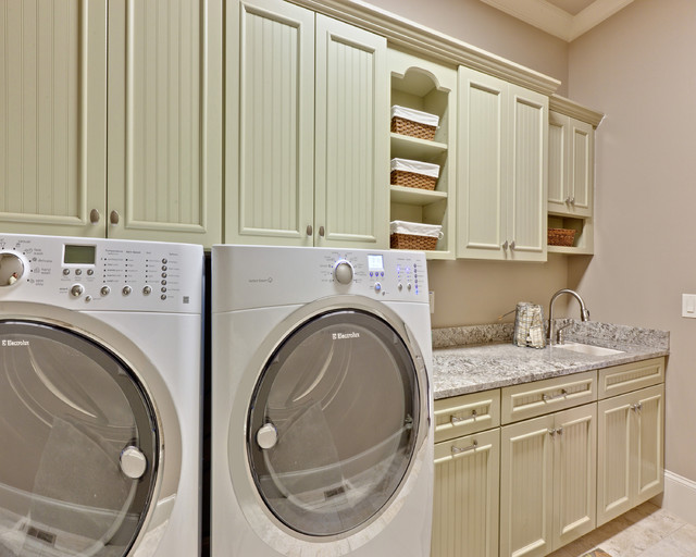 Mid Continent Cabinets Laundry Room Traditional with Baseboards Beadboard Built In1