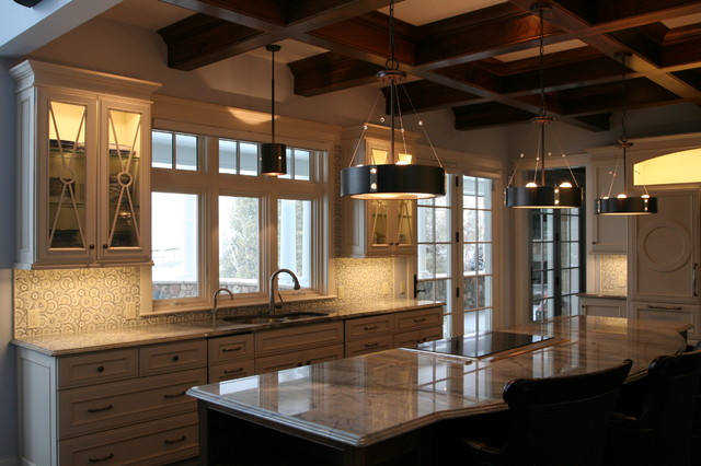 Milliken Millwork Kitchen Contemporary with Coffered Ceiling Columns Fireplace