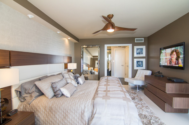 Minka Aire Bedroom Contemporary with Beige Brown Ceiling Fan