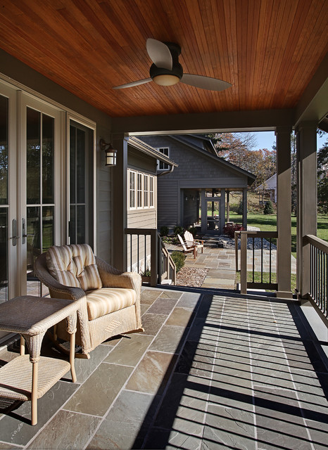 Minka Aire Porch Traditional with Back Porch Bluestone Pavers