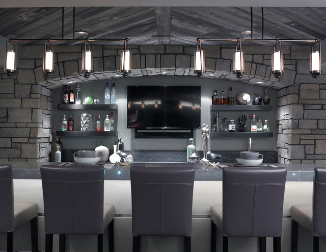 minka lavery lighting Home Bar Contemporary with arch bar stools floating