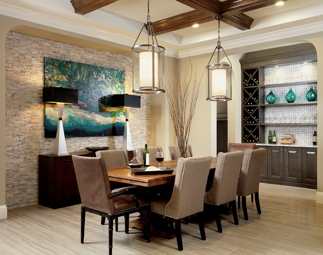 minka lighting Dining Room Transitional with archway beams Buffets Sideboards