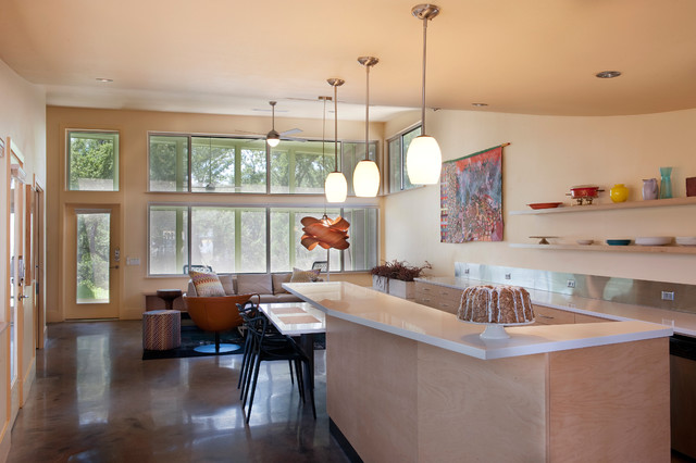 Minka Lighting Kitchen Contemporary with Clerestory Concrete Floor Custom