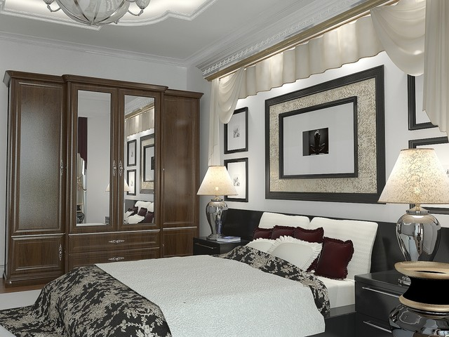 Mirrored Armoire Bedroom Contemporary with Artwork Black and White