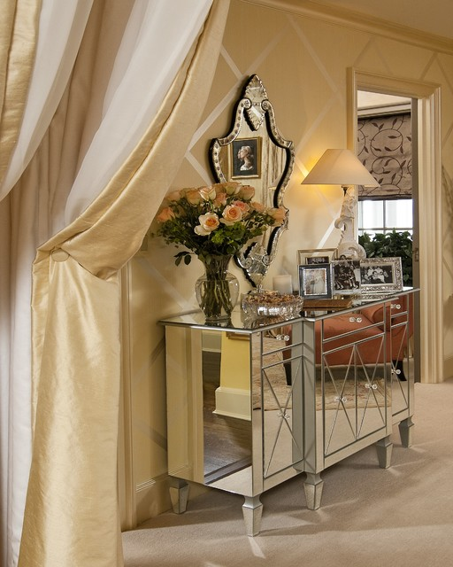 mirrored buffet Bedroom Traditional with area rug arm chair