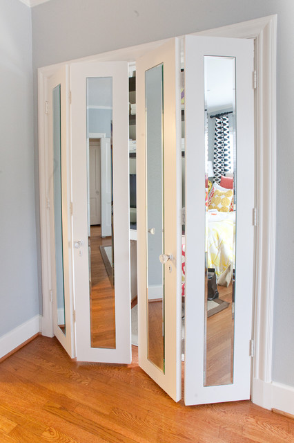 Mirrored Closet Doors Spaces Contemporary with Closet Closet Doors Closet
