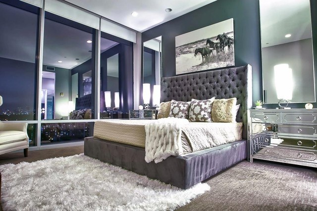 Mirrored Dresser Bedroom Contemporary with Art Bed Bed Pillows