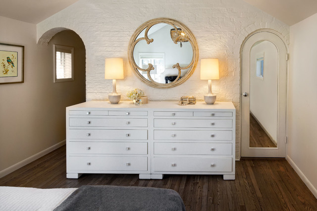 Mirrored Dresser Bedroom Transitional with Arch Entry Arched Door