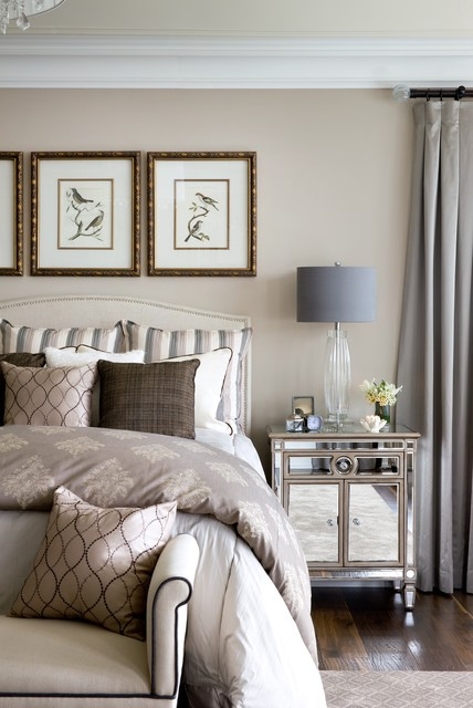 Mirrored Nightstand Bedroom Traditional with Bedroom Bench Crown Molding