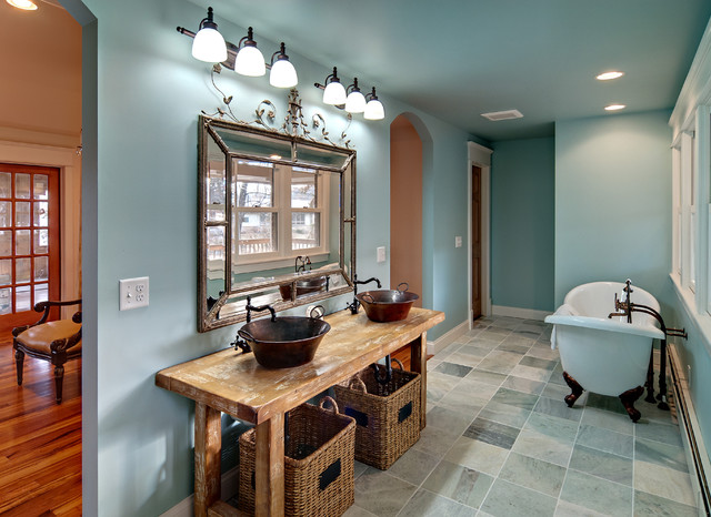 Mirrored Vanity Table Bathroom Traditional with Arch Doorway Archway Basin