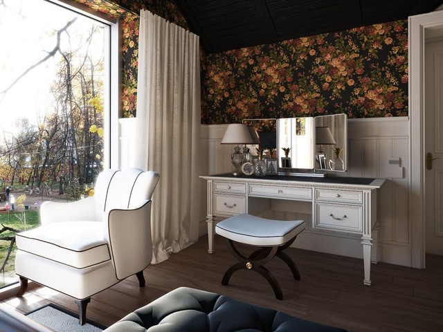 Mirrored Vanity Table Bedroom Transitional with Curtains Dark Ceiling Drapes1
