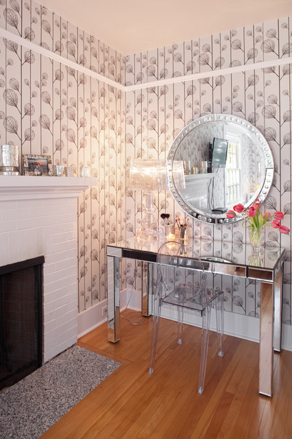 Mirrored Vanity Table Home Office Contemporary with Baseboards Brick Fireplace Surround1