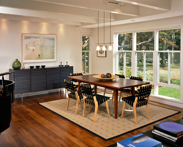 Modern Credenza Dining Room Beach with Area Rug Beach Art
