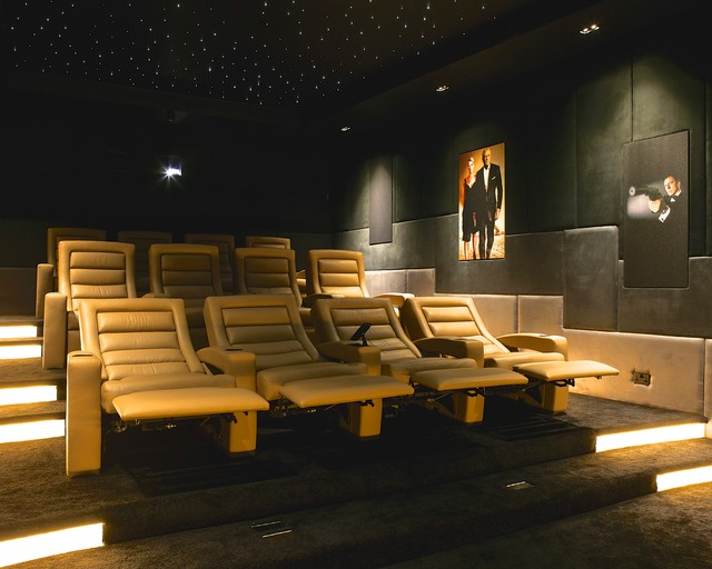 Modern Recliner Home Theater Contemporary with Art Lighting Ceiling Lighting