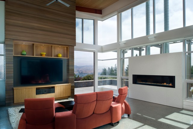 modern recliner chair Family Room Modern with addition built-in entertainment ceiling