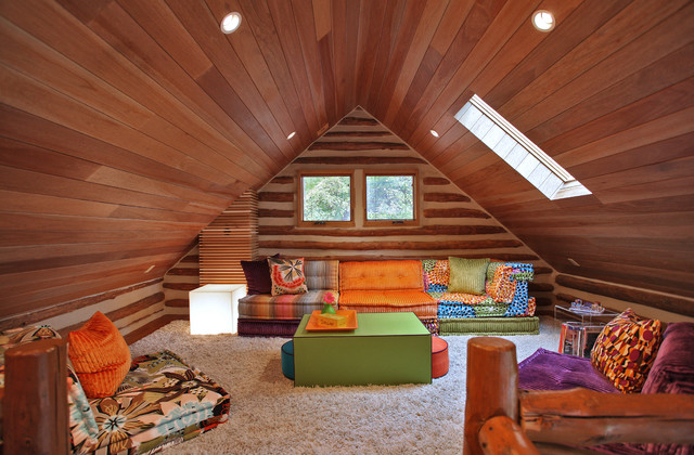 modular couch Family Room Eclectic with bright colors chinking colorful