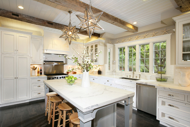 Moravian Star Light Kitchen Traditional with Breakfast Bar Ceiling Beams