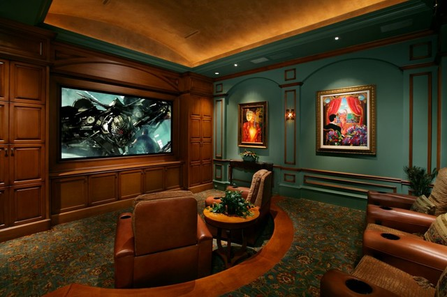 Morton Building Homes Home Theater Mediterranean with Barrel Ceiling Built in Carpeting
