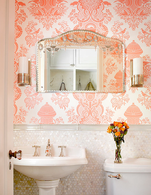 Mother of Pearl Tile Powder Room Traditional with Bathroom Lighting Etched Glass1