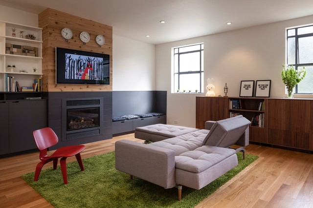Mounting Tv Above Fireplace Living Room Contemporary with Black Wainscoting Built In1