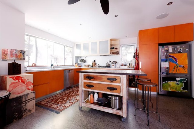 Movable Kitchen Island Kitchen with Bar Stool Concrete Flooring