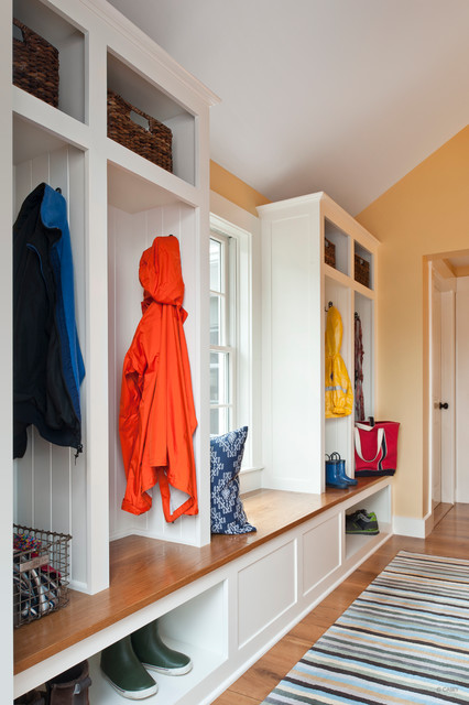 Mudroom Bench Entry Contemporary with Built in Storage Coat Cubbies